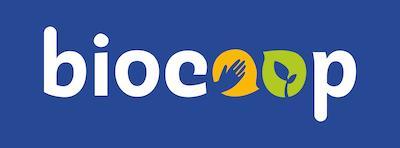 Logo biocoop quadri fond bleu